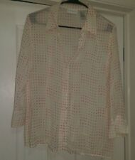 Liz Claiborne Women Pink Green Purple Ivory Button Down Shirt Top Blouse Size L