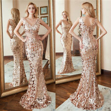 Ever-Pretty US Sequins Long V-neck Evening Dress Bodycon Cocktail Celebrity Gown