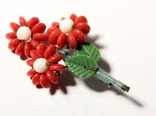 rondelle art glass beaded pin brooch Czech vintage hand wired flower leaf red