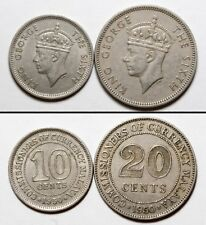 NC0165 NC0163 Malasia 1950, 10 20 cents - Malaya 2 coins set