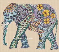 Cross Stitch Chart POP ART ELEPHANT #7-365/1a (Large Print)