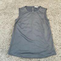 REISS Womens Shirt UK 4 Grey Plain Tunic Tank Top