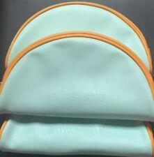 "3x Philosophy Cosmetics Pouch Light Green w/Yellow Trim Soft Faux Leather 8x5x1"""