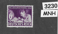 #3230   MNH WWII Germany stamp Sc B201 / Third Reich / Stamp collectors day 1942
