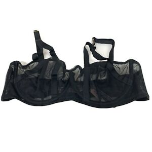 NEW Victorias Secret Bra 36D Unlined Balconet Solid Black Mesh Sheer Underwire