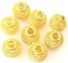 8 Large hole Gold Mesh Wire Beads 16x13mm Jewelry Supplies
