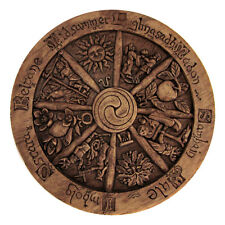 Small Wheel of the Year Wall Plaque Wood Finish Dryad Design Pagan Wicca Sabbats