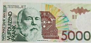 !!! 5000 Francs Frank Testbiljet Specimen Belgique Belgïe 1992 Rare Zeldzaam !!!