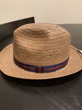 Capas Genuine Coconut Straw THE PINCH FRONT Style Hat With Navy  Red Ribbon New