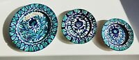 "12"" SET OF 3 Vintage Authentic FAJALAUZA Wall Plate Blue White Green Talavera"