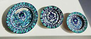 "12"" SET OF 3 Vintage Authentic FAJALAUZA Wall Plate Blue White Green Talavera"