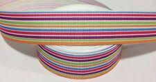 1 metre of colourful rainbow stripe grosgrain ribbon 22 mm