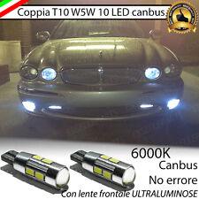 COPPIA LUCI DI POSIZIONE 10 LED JAGUAR X-TYPE T10 W5W BIANCO CANBUS NO AVARIA