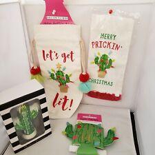 Cactus Christmas Items Wine Bottle Bag Towel Can Cover Chrismas Ornament Four Pc