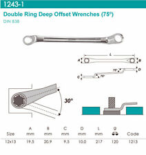 Whirlpower Double Ring Deep Offset Wrench 75° 12PT Flank 12x13mm Automotive