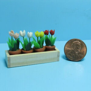 Dollhouse Miniature Colorful Tulips in Pots in Wooden Window Box IM69009