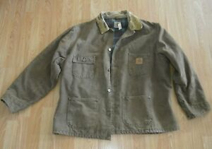 Vintage 80's CARHARTT Detroit Duck Blanket Lined Faded Jacket Crafted in USA XL