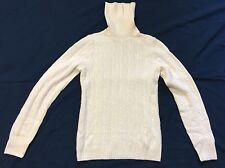 JCrew Ivory Cable Knit Cashmere Blend Turtleneck Sweater Sz S EUC