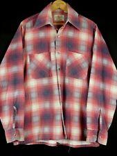 Vintage Mc Allister Shadow Plaid Rockabilly Cotton Flannel Shirt M