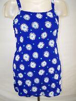 Bali Girl Blue White Floral Beach Cover Tunic Top Women's Size Medium dress new