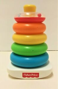 Fisher Price Rock a Stack Colorful Rings Set Childrens Toys Plastic Stacker