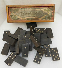 Antique vintage domino game Set of black wooden dominoes in box DAMAGED double 6