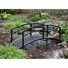 Modern Black Metal 8 Foot Garden Bridge with Railings Outdoor Garden Landscaping