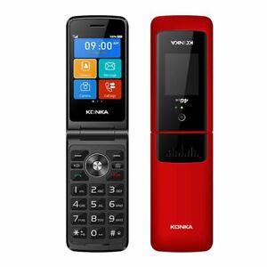 """Konka F21 128MB/64MB (2.8"""") 4G Flip Keypad Phone - Red"""