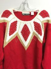Dana Scott Women's Ugly Christmas Sweater Red Gold Bead Trim Good Condition