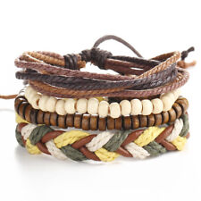 Fashion Leather Bracelets for Women Men Braided Rope Adjustable Vintage Jewelry