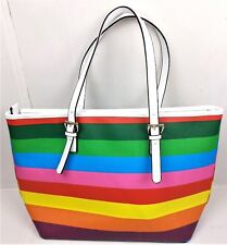 Dasein Shoulder Bag Rainbow Striped Large Hangbag Tote Carryall Top Zip Satchel