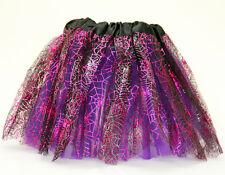 HALLOWEEN METALLIC DRESSUP COSTUME SKIRT SPIDERWEB BLACK PURPLE PINK PARTY DANCE