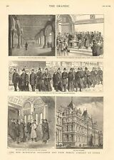 1884 ANTIQUE PRINT-NEW MUNICIPAL BUILDINGS AND FREE PUBLIC LIBRARY AT LEEDS