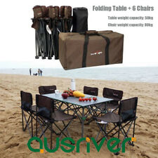 7Pcs Set Mini Camping Folding Table & Chair Portable Outdoor Furniture BBQ