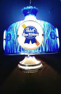 Vintage Pabst Blue Ribbon Hanging Lamp Light PBR Beer Bar Advertising Sign
