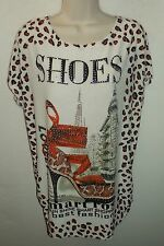 CAMEO ROSE shoes animal print top UK 8 10 12 US 6 8 10 EU 36 38 40 was £15