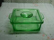 Vintage Hazel Atlas Vaseline Green Two Handle Glass Storage Dish