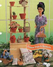 """FLOWER POTS~BASKETS""~Crochet PATTERN~PATTERN ONLY for BARBIE FASHION DOLL"