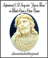 2 CHRISTIAN RELIGIOUS 3/D IVORY color JESUS in THORNS on BLACK 40 x 30mm CAMEOS