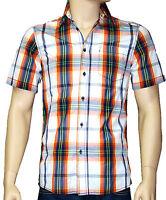 BLUE LEMON chemise manches courtes regular carreaux orange homme taille S