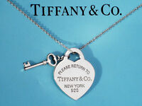 Tiffany & Co Return To Tiffany Sterling Silver Heart & Key Necklace