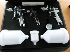 Lackierpistole 2 x HVLP 1x0,8mm  Druckminderer Spritzpistole + 5 Feinstaubmasken