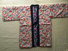 Japanese Hanten Kimono Jacket (M)Reversible Warm Room Wear Cherry Chrysanthemum