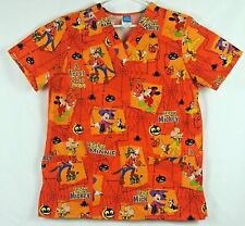 Disney Halloween Medical Scrub Size M Orange Mickey Minnie Goofy Pluto