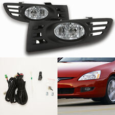 Clear Fog Lights For 2003-2005 Honda Accord Coupe 2Dr w/Bezel Switch Wiring Bulb