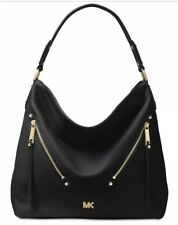 New Michael Kors evie Hobo supple leather front zip pocket black gold bag