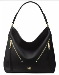 New Michael Kors evie Hobo supple leather front zip pocket black gold bag