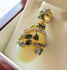 SALE ! SUPERB STERLING SILVER 925 AND 24K GOLD RUSSIAN EGG PENDANT MOONSTONE