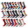 Mens Combed Cotton Colorful Striped Dot Diamond Business Casual Dress Socks Sox
