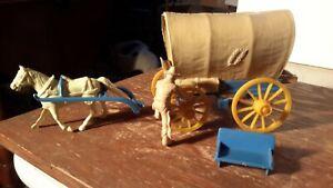 Marx ORIGINAL 60mm WAGON w/tan top w/Seat/Barrel Custer Wagon Train Western